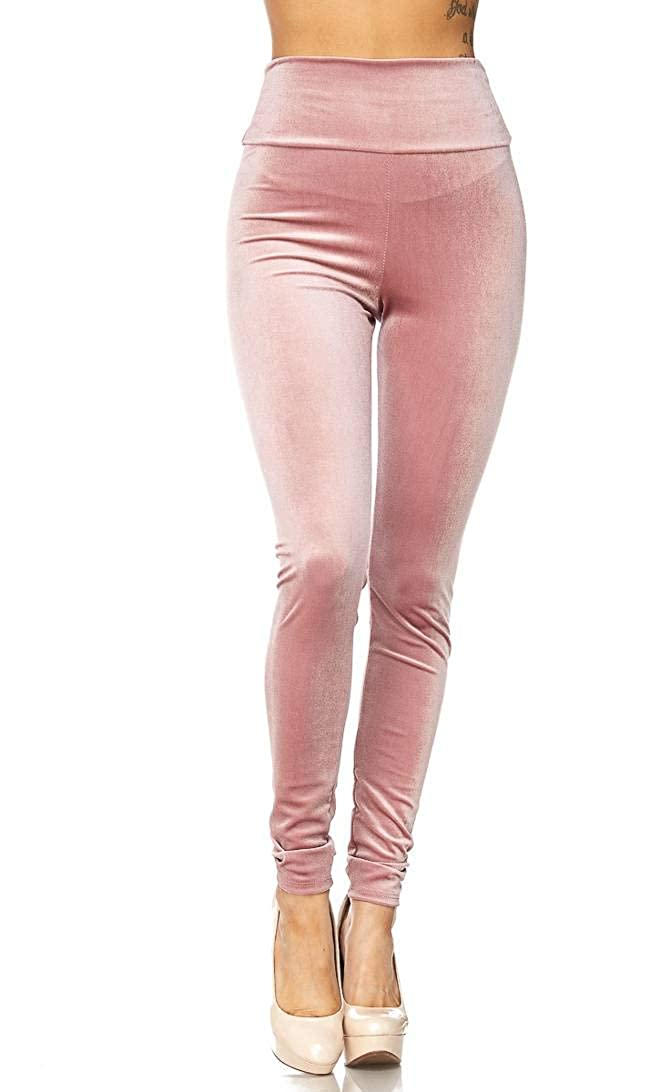 120896368 High Waisted Velvet Leggings in Pink at Amazon Women's Clothing store: