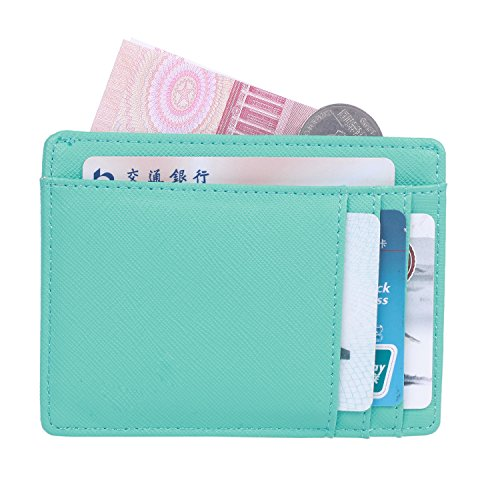 - HONEYJOY Leather Slim Wallet Credit Card Case Minimalist Money Clip Wallet Card Holders with RFID Blocking (Sky Blue)