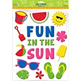 "Sun-Sational Summer Luau Party ""Fun in the Sun"" and Summer Essentials Gel Cling Sticker Decoration, Rubber, 15"" x 12"" (Pkg. Size)"