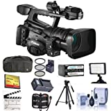 Canon XF-305 High Definition Pro Camcorder, Bundle With Video Bag, Spare Battery, 64GB Compact Flash Card, Tripod, Video Light, 82mm Filter Kit, Cleaning Kit, Memory Wallet, And More