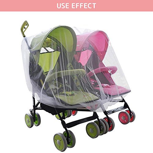 WINGOFFLY Rain Cover and Mosquito Net for Baby Twins Stroller Side by Side Universal Size Stroller Raincover Waterproof, Windproof and Anti-Insect by WINGOFFLY (Image #4)