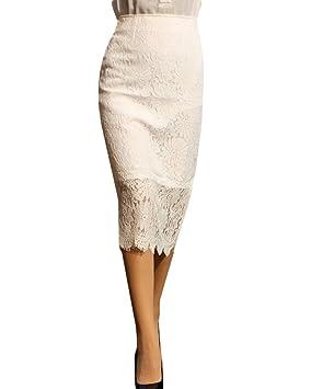 Yonglan Mujer Encaje Malla Lápiz Falda Color Sólido Cintura Alta ...