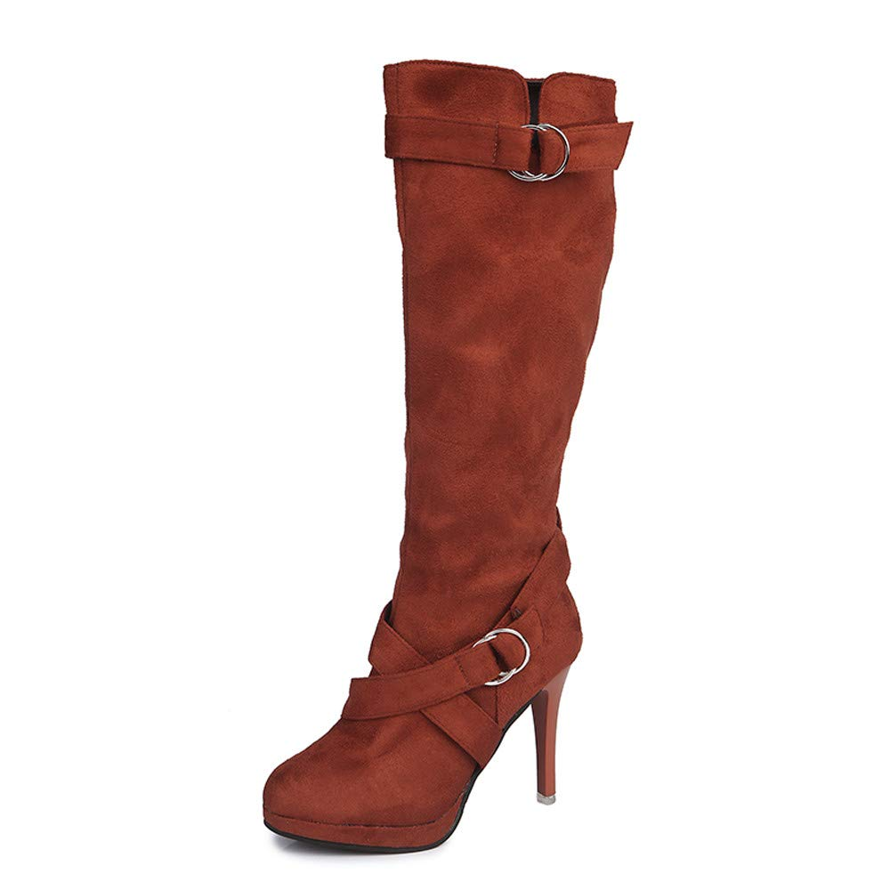 ✔ Hypothesis_X ☎ Women's Over The Knee Stretchy Faux Suede Pull On Thigh Stiletto Boots Buckle Roman Platform High Heels Brown by ✔ Hypothesis_X ☎ Shoes