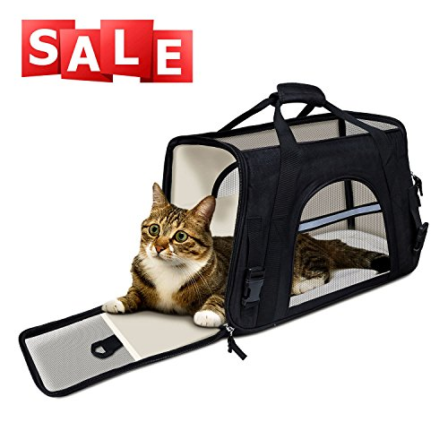 GDPETS Cat Carrier, Airline Approved Soft Sided Pet Carrier Under Seat Travel Bag, Portable Dog Carrier Kennel with Fleece Bedding for Cats, Small Dogs and Puppies