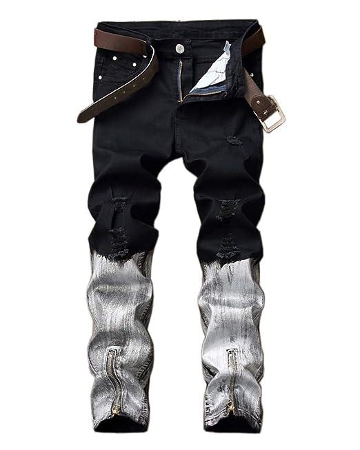 ZiXing Jeans Rotos Hombre Pantalones Vaqueros Slim Fit ...