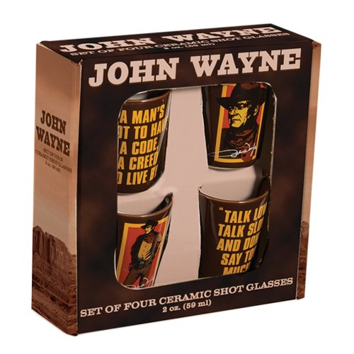 Vandor-15018-John-Wayne-4-pc-Ceramic-Shot-Glass-Set-Brown-Orange-and-Yellow