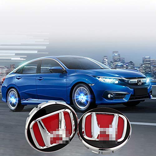 sooloom Magnetic Levitation Wheel Hub Center Caps Cover LED Light Waterproof for Honda Elysion Civic CRV Spirior XRV Crosstour Odyssey Vezel Accord Crider CRZ FCX HRV Fit Accessory 4Pcs (Red ()
