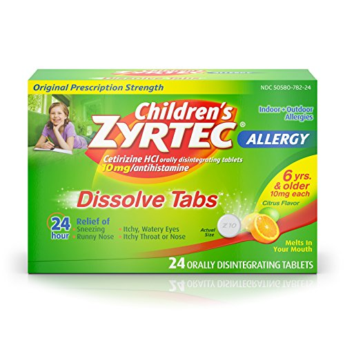 Flavored Tablet Medicine - Children's Zyrtec 24 HR Dissolving Allergy Relief Tablets with Cetirizine, Citrus Flavored, 24 ct, Packaging  may vary