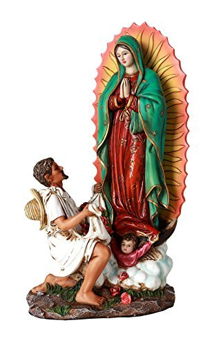 Virgen De Guadalupe Juan Diego (10 Inch Statue Our Lady Of Guadalupe San St Juan Diego Saint Estatua Virgen Miracle Religious Collectible Figurine)