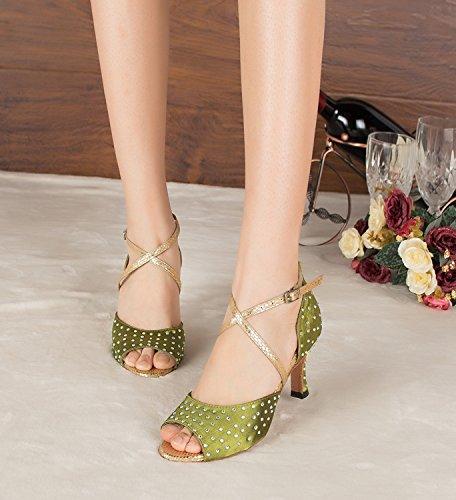De baño de mujer Minitoo de satén de y pedrería para de boda juego de cristales decorativos Latin zapatos de danza de para fiesta tacón Verde - verde
