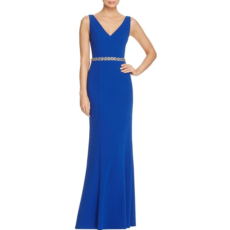 JS Collection Womens Beaded Waist Cut Out Back Evening Dress at ...