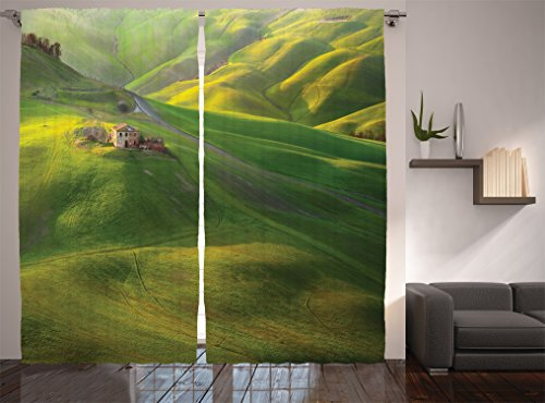 Ambesonne Tuscan Decor Collection, Tuscany Hill Sunset Scenery and Meadow Vineyard Grape Picture, Window Treatments, Living Room Bedroom Curtain 2 Panels Set, 108 X 84 Inches, Green Khaki (Vineyard Hill Collection)