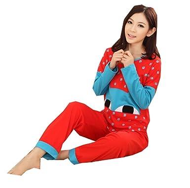 Amazon.com: KM Señoras nightwear/pijamas de algodón manga ...