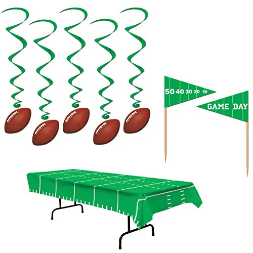 Game Day Football NFL Super Bowl Party Decorations - Table Cover 50 Appetizer Picks 5 Hanging Dangling Whirls ()