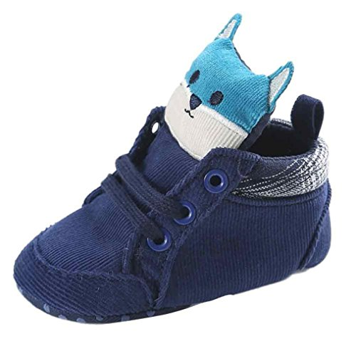 AutumnFall Baby Girl Boys Fox Hight Cut Shoes Sneaker Anti-slip Soft Sole Boots (6~12 Months, Blue)