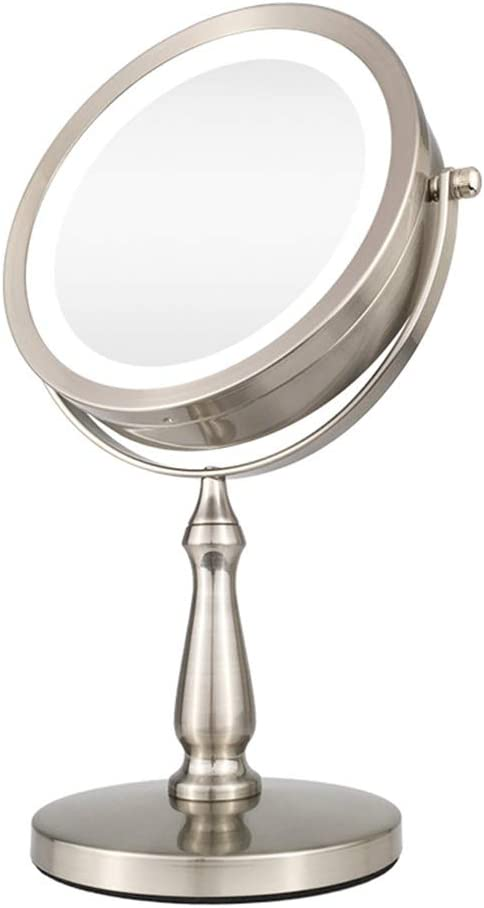 Vanity Mirror Rechargeable Smart Touch Screen,Make Up Mirror with a 3X Magnifying Glass,Led Make Up Mirror ABS Material,21.0x13.5x32.3cm
