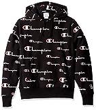 Champion LIFE Men's Reverse Weave Pullover Hoodie All-Over Print, Multi Scale Script/Black, Small
