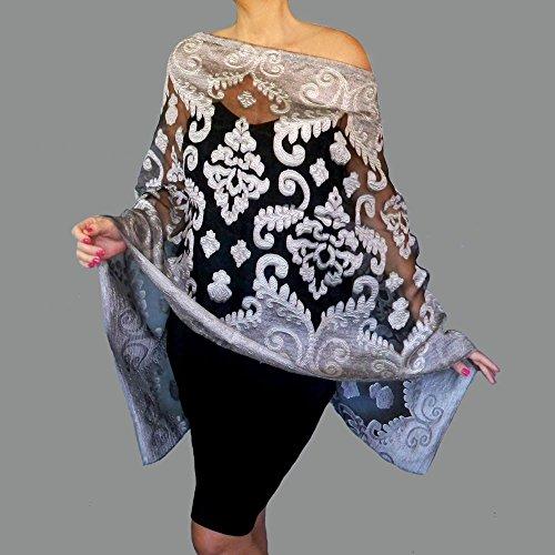 Silver Organza Wrap - Grey Shawl Black Organza Wrap Silver Evening Wear Sheer Stole By ZiiCi