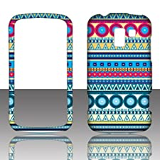 Blue Aztec Tribal 2D Rubberized Design for LG Optimus Slider LS700 Enlighten VS700 Cell Phone Snap-On Hard Protective Case Cover Skin Faceplates Protector