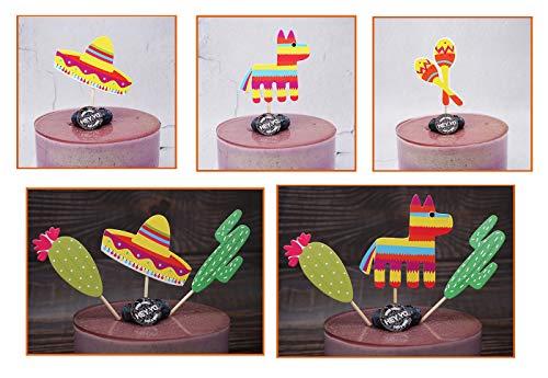Mexican Fiesta Cupcake Topper Cactus Donkey Sombrero Pattern Party Cake Picks 28PCS