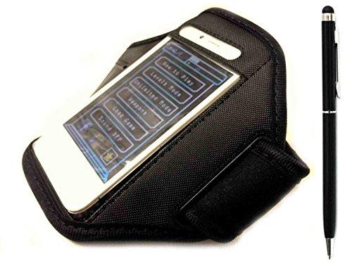 Deet® iPhone 6et iPhone 7Noir Brassard de sport. de qualité premium Coque + Noir Stylet avec stylo bille [Bundle]