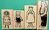 Quality Custom Rubber Stamps Goldilocks & The 3 Bears Wood Mounted Rubber Stamps Set Carved Wooden Stamps