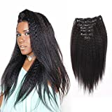 AmazingBeauty Blow Out Clip In Extensions Kinky Straight 8A Grade Thick 100% Remy Hair Natural Black 10-22inch 7 Pieces with 18 Clips 120g/4.2oz per Set Fit For Full Head 10 inch