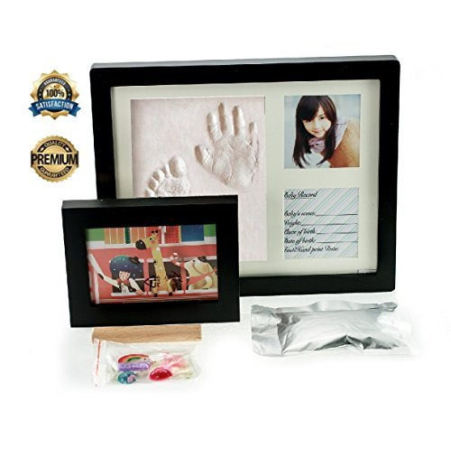 Baby Handprint Kit & Footprint Photo Frame for Newborn Girls and Boys, Personalized Baby Gifts, Keepsake Box Decorations for Room Wall Nursery, Baby Photo Album for Shower Registry