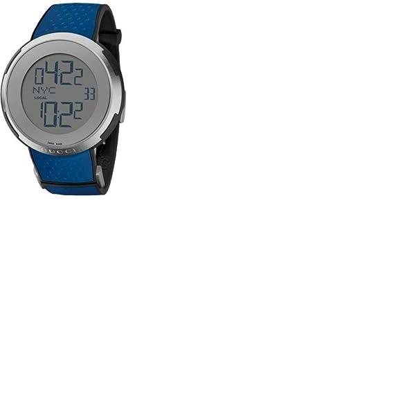 Gucci Reloj para hombre YA114105 caso de acero inoxidable azul correa de caucho gris tono Digi: Amazon.es: Relojes