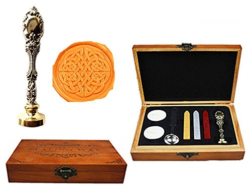 MNYR Celtic Knot Luxury Decorative Wood Box Silver Metal Peacock Wedding Invitations Gift Cards Paper Stationary Envelope Seals Custom Logo Wax Seal Sealing Stamp Wax Sticks Spoon Wood Gift Box - Celtic Metal Knot