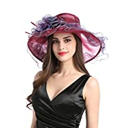 Women's Organza Church Kentucky Derby Wide Brim Tea Party Wedding Summer Sun Hat