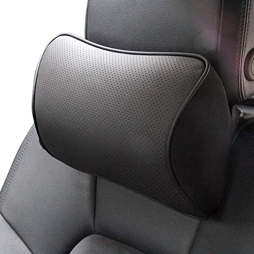 - Memory Foam Car Neck Pillow Soft Leather Headrest for Driving Home Office Black (1PC)