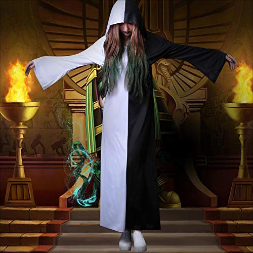 MODYY Halloween Costume Cosplay Adult Female Horror Black and White Impermanence Priest Clothes Qing Zombie Ghost Robe