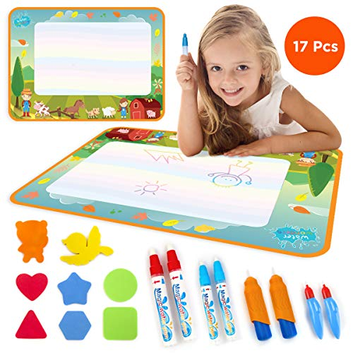Water Drawing Mat for Toddlers - Doodle Mat for Drawing - Educational Toys for Boys and Girls - Farm Design