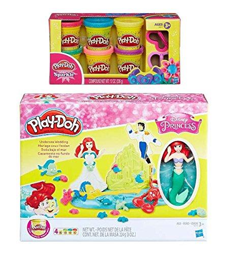 Play-Doh Disney Princess Undersea Wedding with Ariel + Play Doh Sparkle Compound Bundle