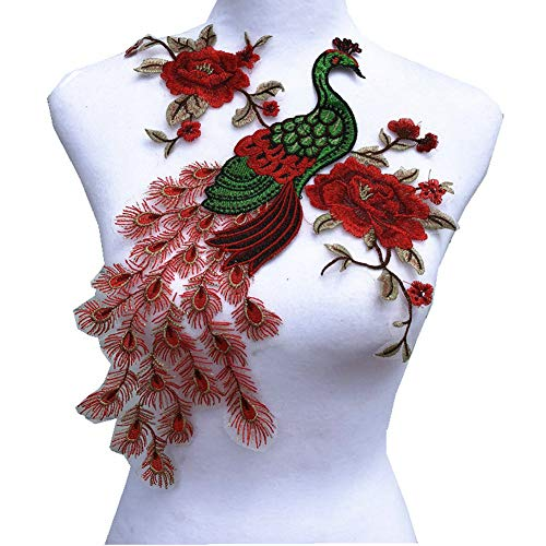 Fabric Sequin Peacock Flower Lace Sewing Applique Lace Collar Neckline Collar Applique DIY Clothing Accessory Scrapbooking (red)
