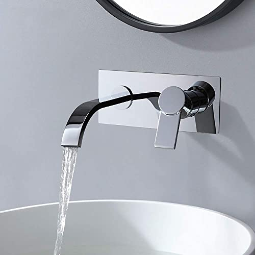 AUXO Wall Mounted Bathroom Faucet Single Handle Vessel Sink Faucet with 6.5 Long Spout in Polished Chrome, Rough-in Valve and Trims Included