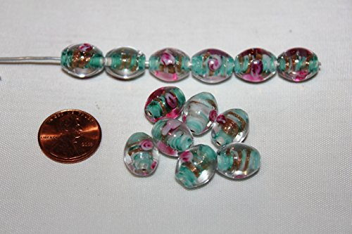 (* Lampwork * High Quality - Glass Beads - Basic Shape in Seafoam & Pink Combination - 50 Beads Per Pack (10x14mm- Oval (G-2030), Seafoam (0119)))
