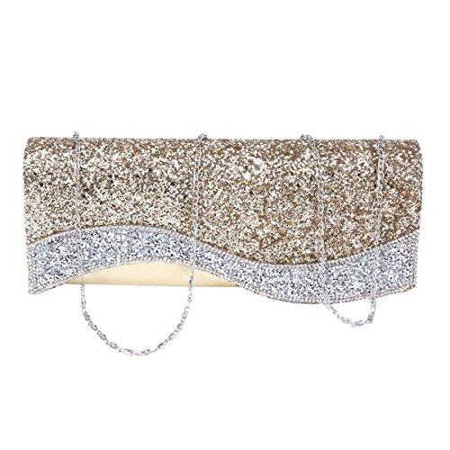 Leather Women Wave Wedding Shining Faux Flap Handbag Damara Champagne Crystal 4qdaEE0