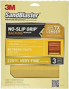 3M SandBlaster Between Coats Sandpaper, 220-Grit, 9-Inch by 11-Inch