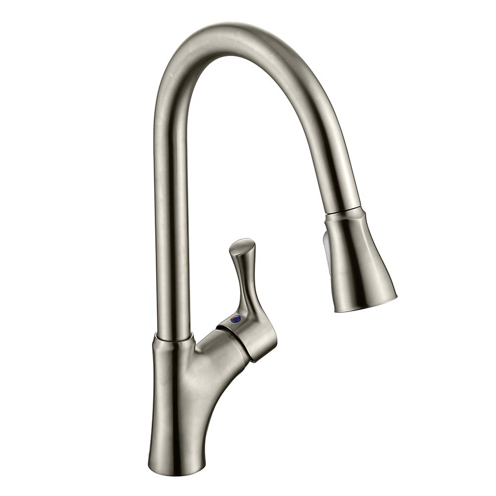 APPASO K128-BN Patented Kitchen Faucet with Pull Down Sprayer, Single Handle High Arc Pull Out Spray Head Kitchen Sink Faucets, Stainless Steel Brushed Nickel