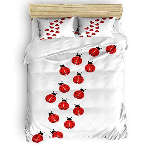 MOBEITI Twin Size Cute Duvet Cover Set Twill Plush Kids Bed Sheet Set for Boys Girls,Include 1 Duvet Cover 1 Bed Sheets 2 Pillow Case,Red Ladybug Cartoon Animal Pattern 4 Pieces Bedding Set