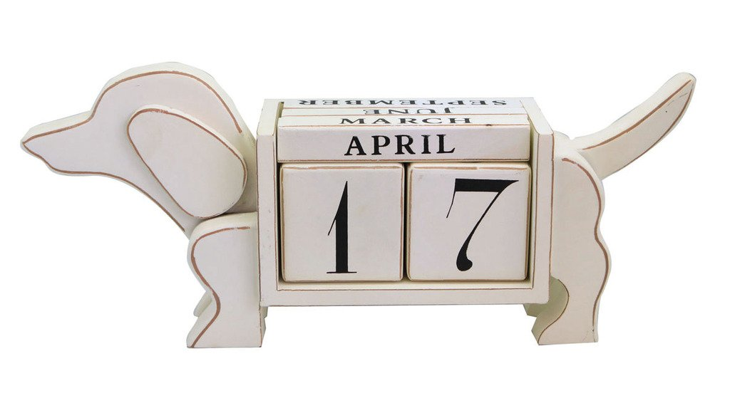 NIKKY HOME Shabby Chic Dog Shaped Wood Blocks Perpetual Desk Calendar, 13.4 x 3.1 x 5.7 Inches, White by NIKKY HOME