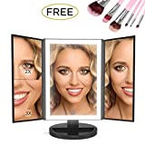 [UPGRADED 2018] Makeup Vanity Mirror with LED Lights BUNDLE 7 Piece Bonus Brush Set Magnification 1x2x3 Portable Trifold Lighted Mirrors Dual Power Xtra Long USB Cable (Black)
