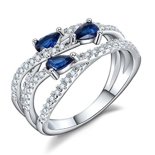 Cubic Zirconia Rolling Ring (Intertwined Statement Ring for Women - Pear Cut Blue CZ Braided Rolling Silver Color Bands Size 7-8)