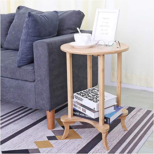 2 Tier Bamboo Round End Side Table