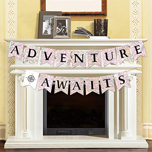 Adventure Awaits Bon Voyage Banner, Travel Themed Party Decorations, Retirement /Baby Shower/Graduation Map Banner, Moving/Relocation/Wedding/Bachelorette/Job Change/Farewell/Career Change Party - Banner Map