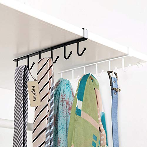 EigPluy 2pcs Mug Hooks Cups Wine Glasses Storage Hooks Kitchen Utensil Ties Belts and Scarf Hanging Hook Rack Holder Under Cabinet Closet Without Drilling,Black by EigPluy (Image #4)
