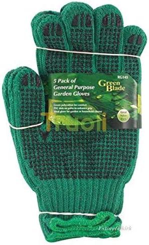 5unidades de uso general guantes de jardinería w/PVC lunares