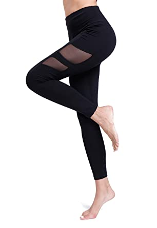 FITTOO Pantalon Yoga Legging de Sport Femme Fitness Collant avec Tulle,  4  Noir, ac8b43a72621